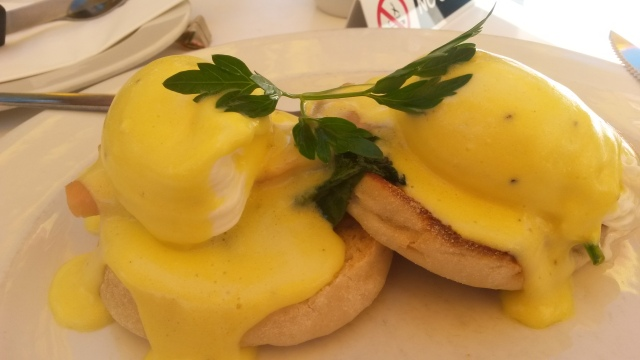 Salmon eggs benedict is delicious! (C) Roseanna McBain