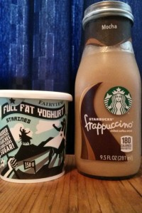 Fairview organic yoghurt and Starbucks Frappucchino (C) Rambling with Rose