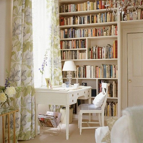 wall length bookcase writing den (via Pinterest)